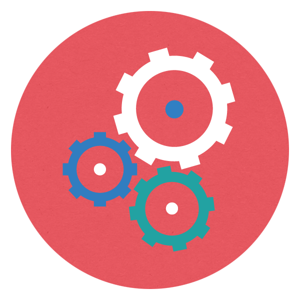 Cogs in red circle